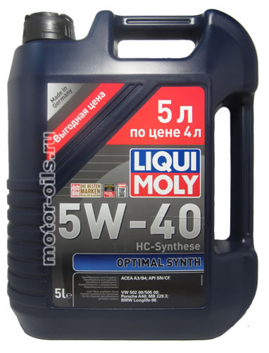 Liqui Moly Optimal Synth 5W-40 (5_литров/Арт.3926)