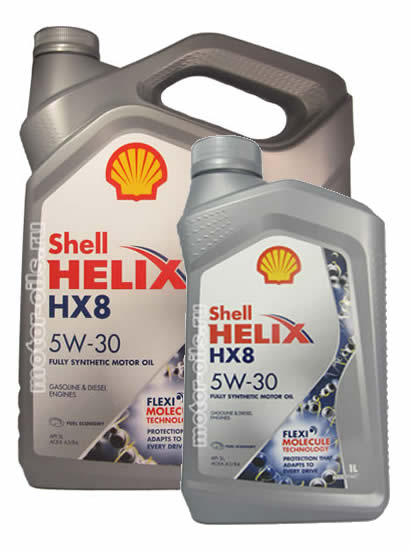 SHELL HELIX HX8 SYNTHETIC 5W-30 (4 литра + 1 литр)